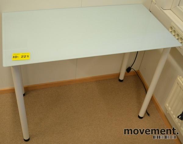 Lite avlastningsbord i glass, 99x52cm,72cm hoyde, hvite ben, pent brukt