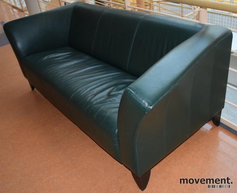 Gr?nn skinnsofa fra Ikea, 200cm bredde3seter sofa, brukt
