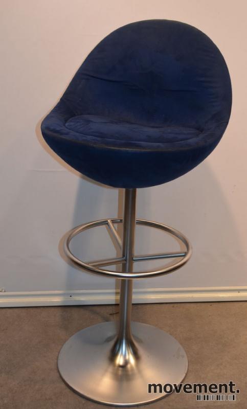 Barstol fra Johanson Design, mod Venus iblått stoff, 83 cm
