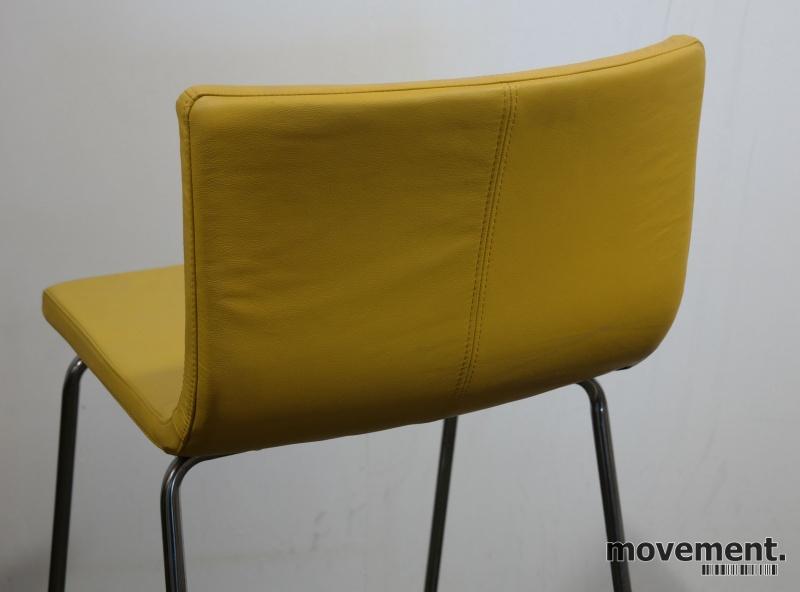 IKEA Bernhard barstol i gult skinn krom, sittehøtde 67cm