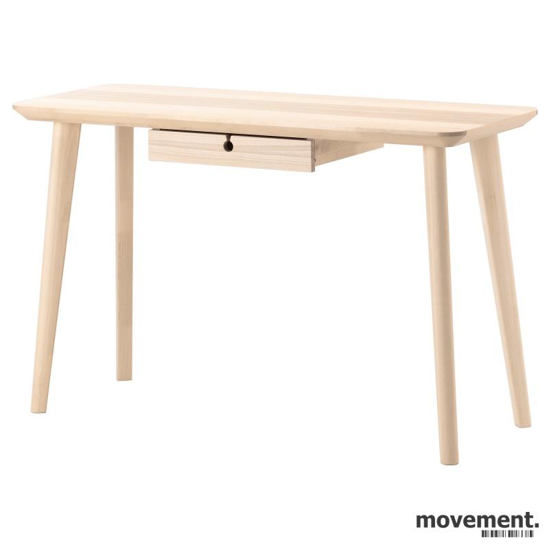 IKEA Lisabo skrivebord med skuff i ask,118x45cm, pent brukt