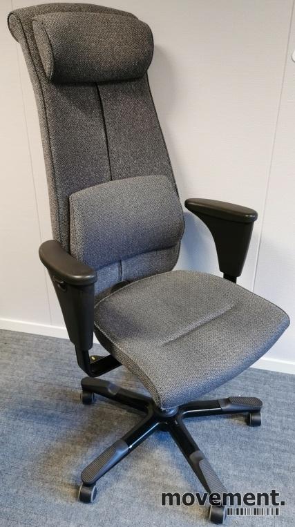 Håg Signet kontorstol, høy rygg,ryggpute og nakkepute, grått