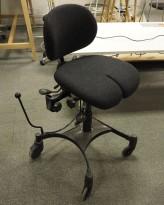 IKEA Renberget kontorstol i sortkunstskinn sort stoff