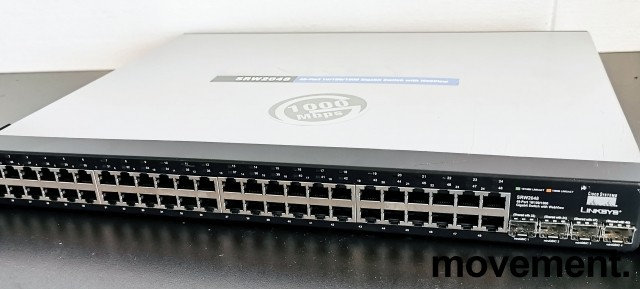 Switch: Cisco Linksys SRW2048 Gigabit 48ports rackswitch, L3 managed, pent brukt bilde 1