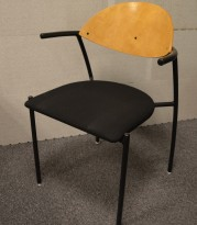 Høy arbeidsstol i blåmelert stoff,sittehøyde 70 80 cm, pent