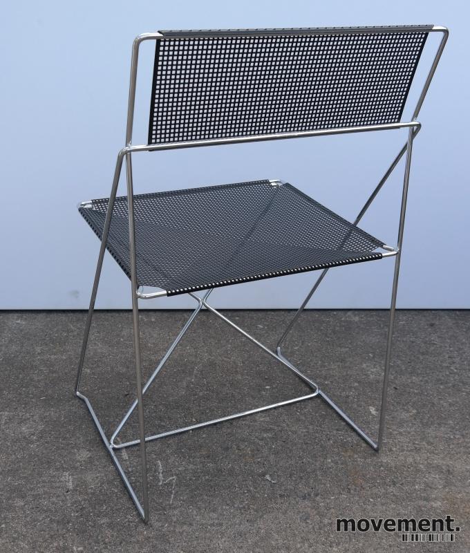 3 stk Hybodan X line stol i sort perforert metall krom